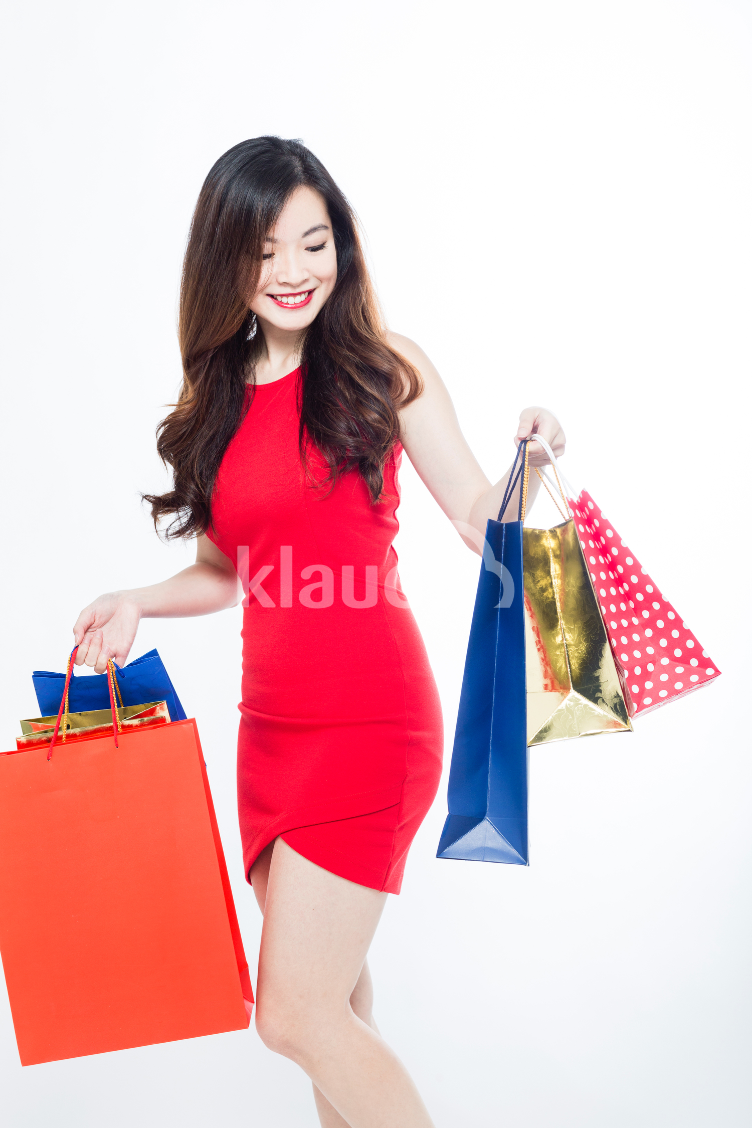 Long Hair woman with her shopping bags