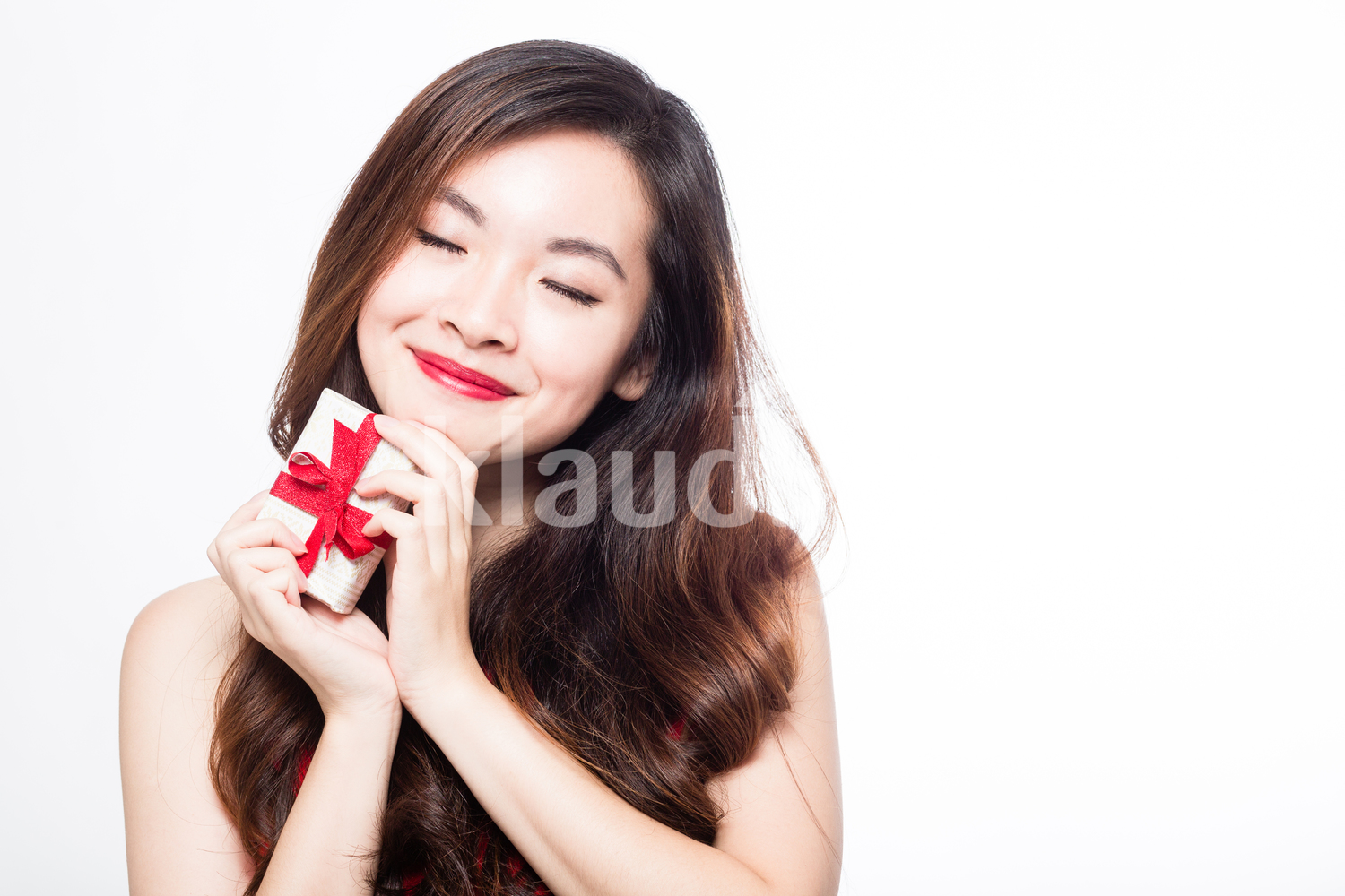 Woman loving her gift