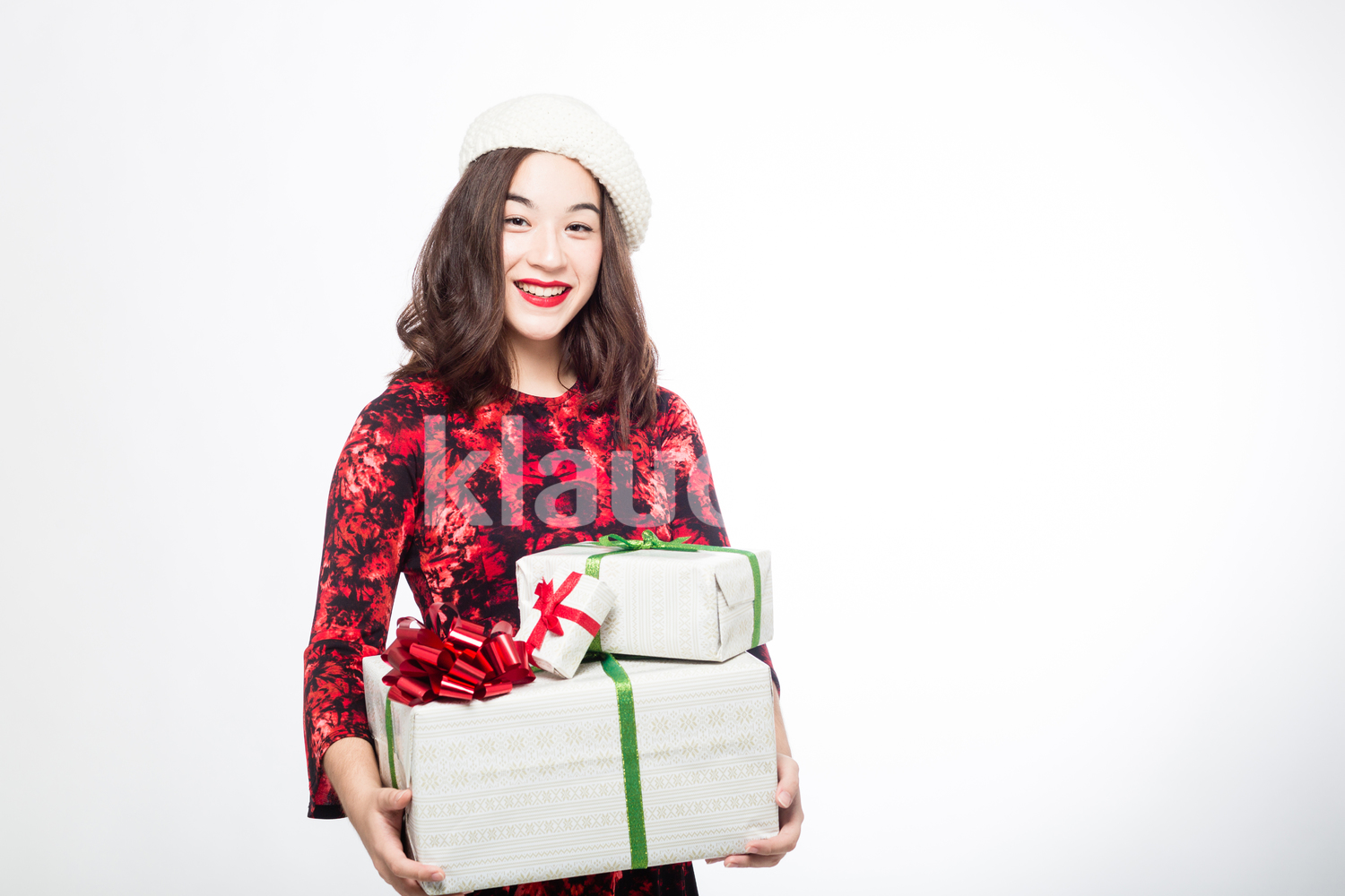 Pretty Woman with Christmas Presents