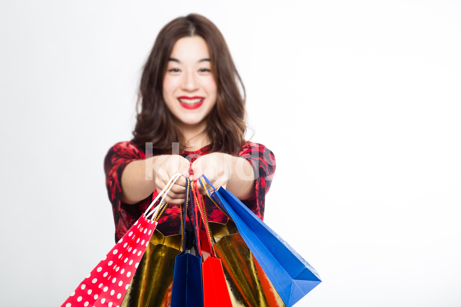 Eurasian Woman with her Shopping Bags