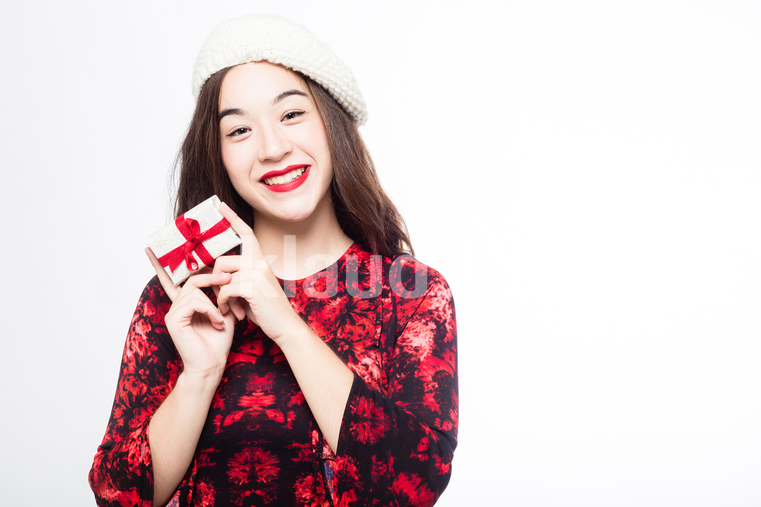 Eurasian Woman with her a Small Gift Box