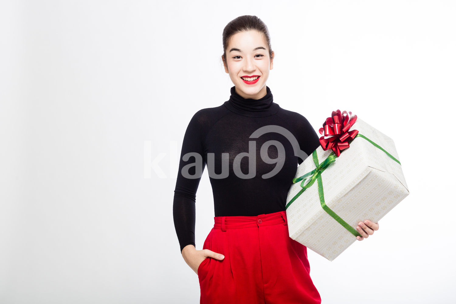 Eurasian Woman with a Big Present