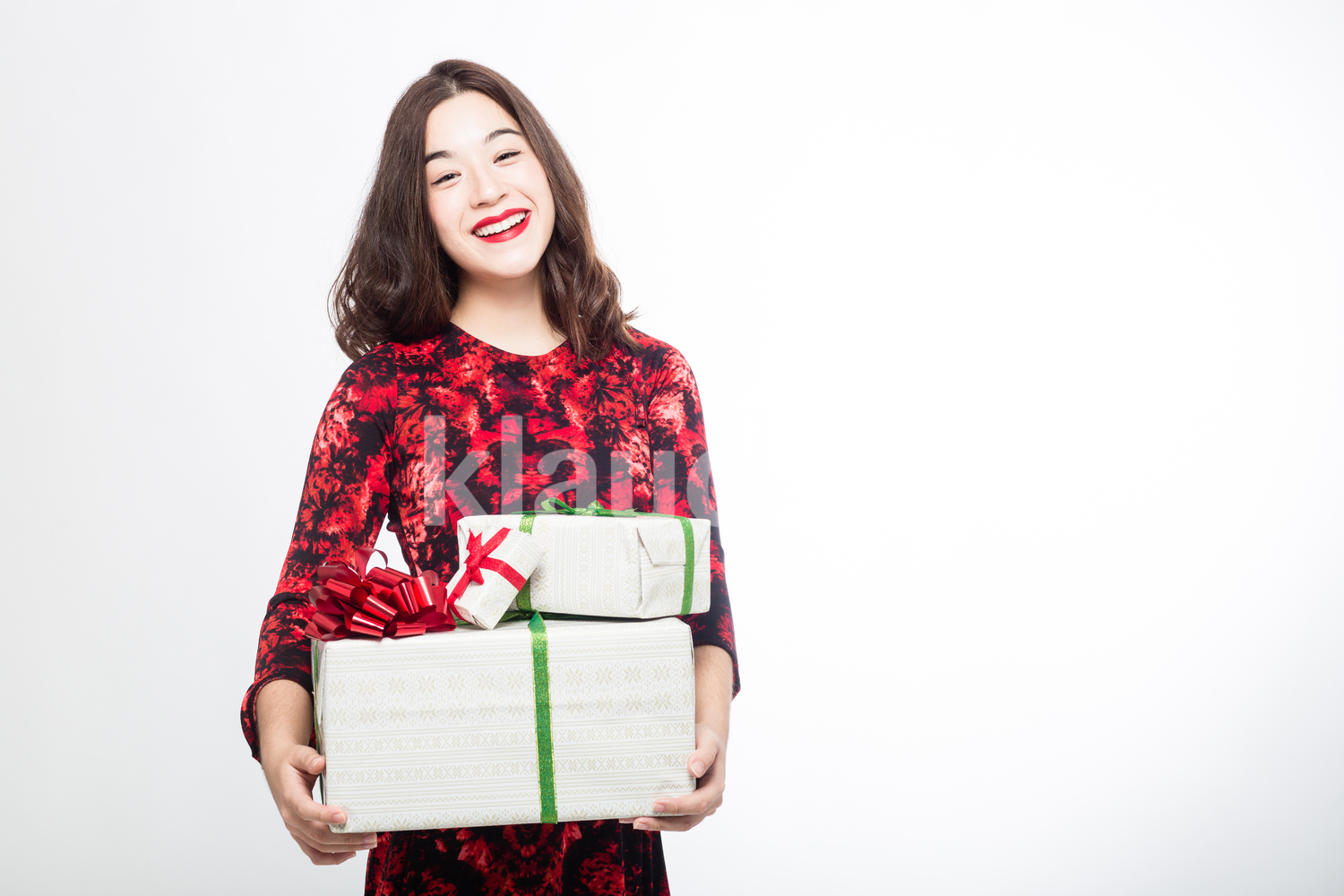 Eurasian Woman with her Christmas Boxes