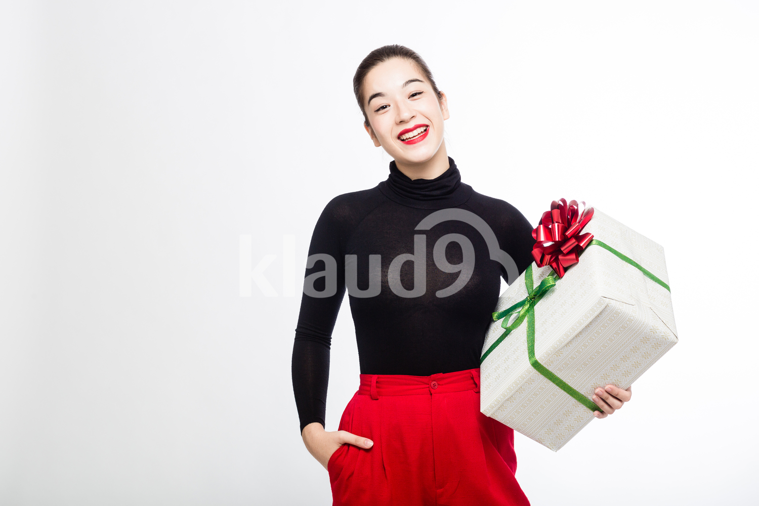 Pretty Woman with her Big Present