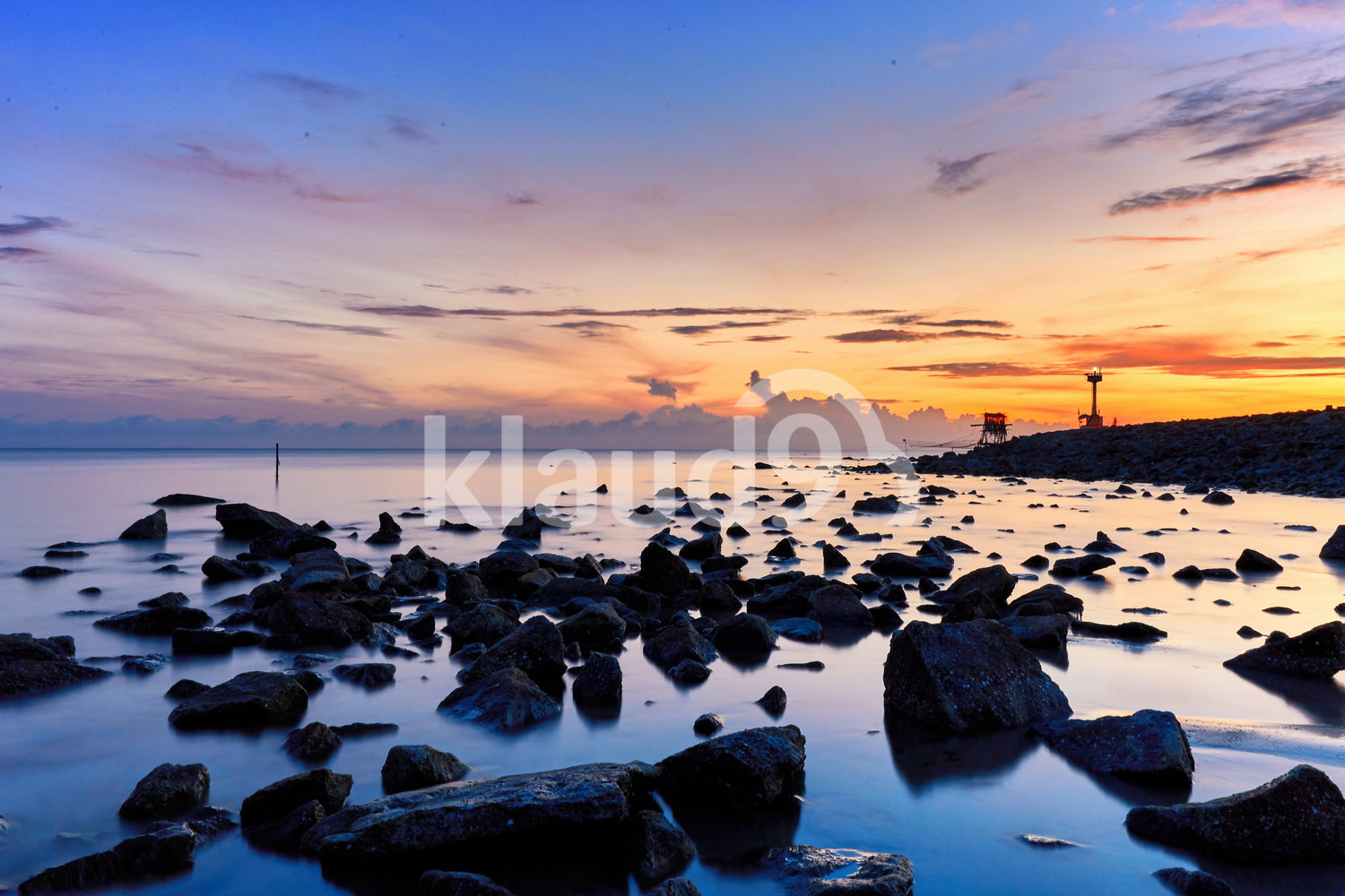 Beautiful sunrise with rocks