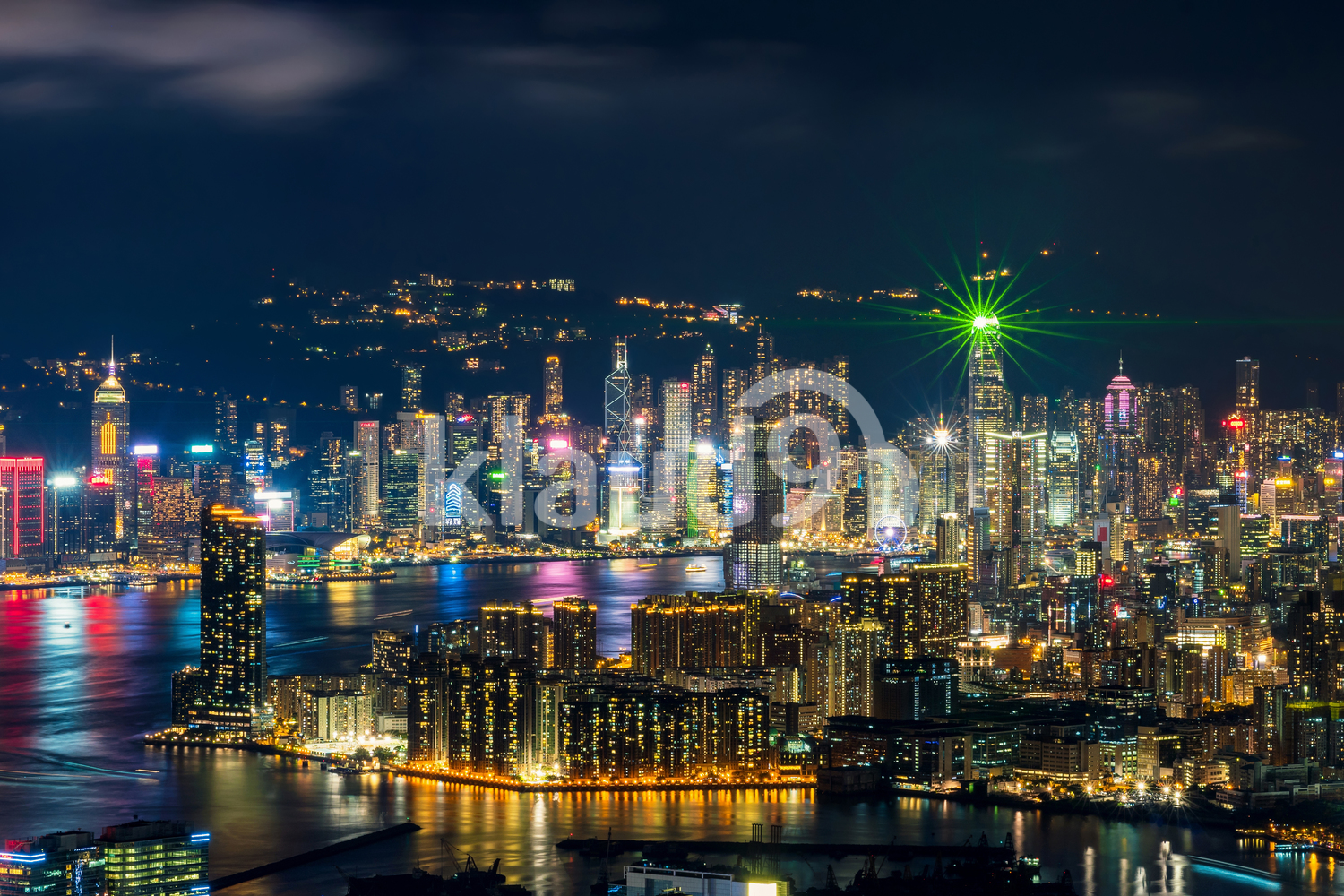 Panorama Aerial View of Hong Kong Cityscape at the twilight time which can see down town and Victoria harbour