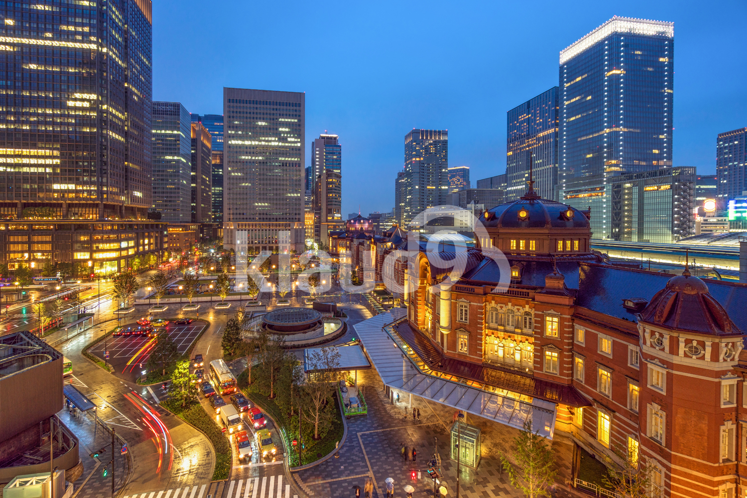 Cityscape Scene of Tokyo railway station from terrace at twilight time, architecture and landmark concept