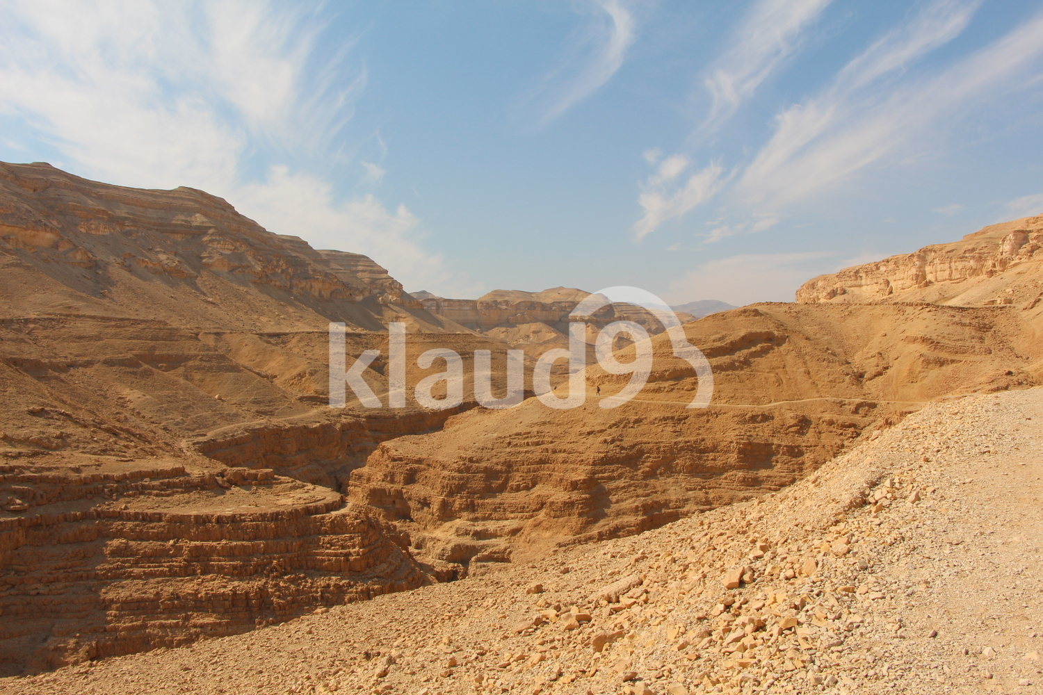 Negev desert with light clouds on sky