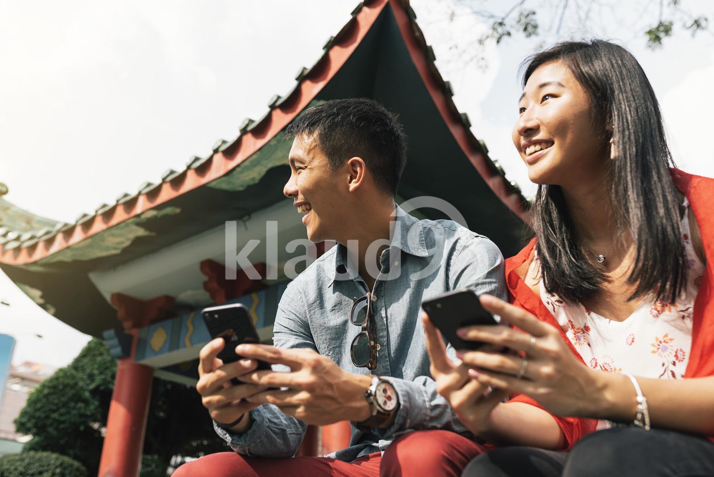 Chinese couple enjoying the scenery