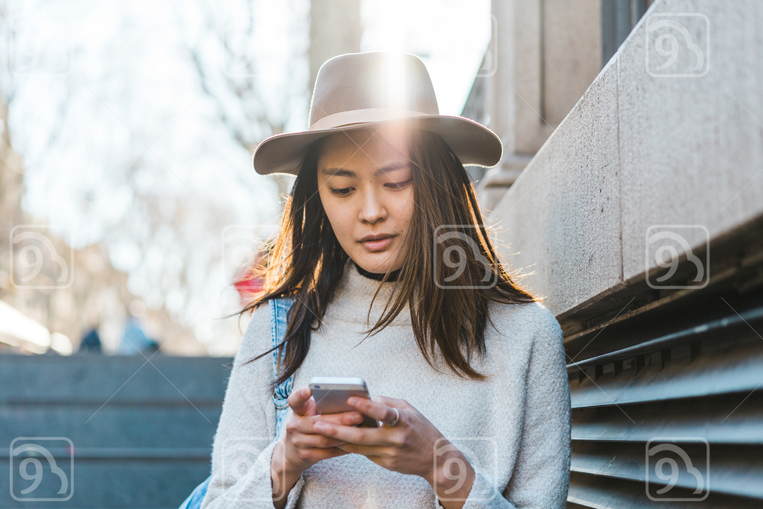 Millennial texting on mobile