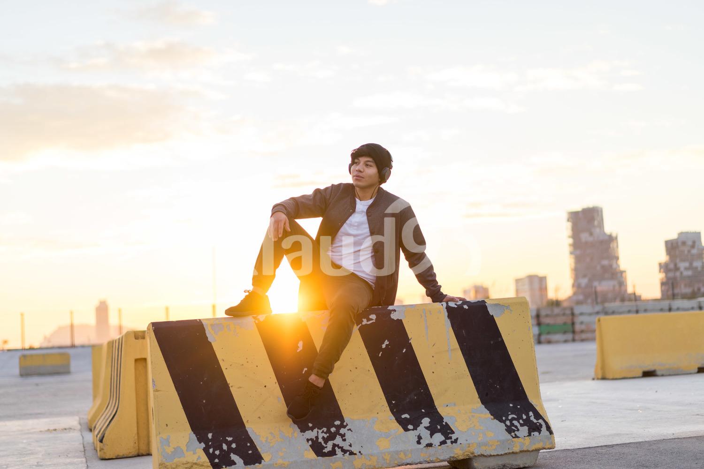 Millennial enjoying sunset