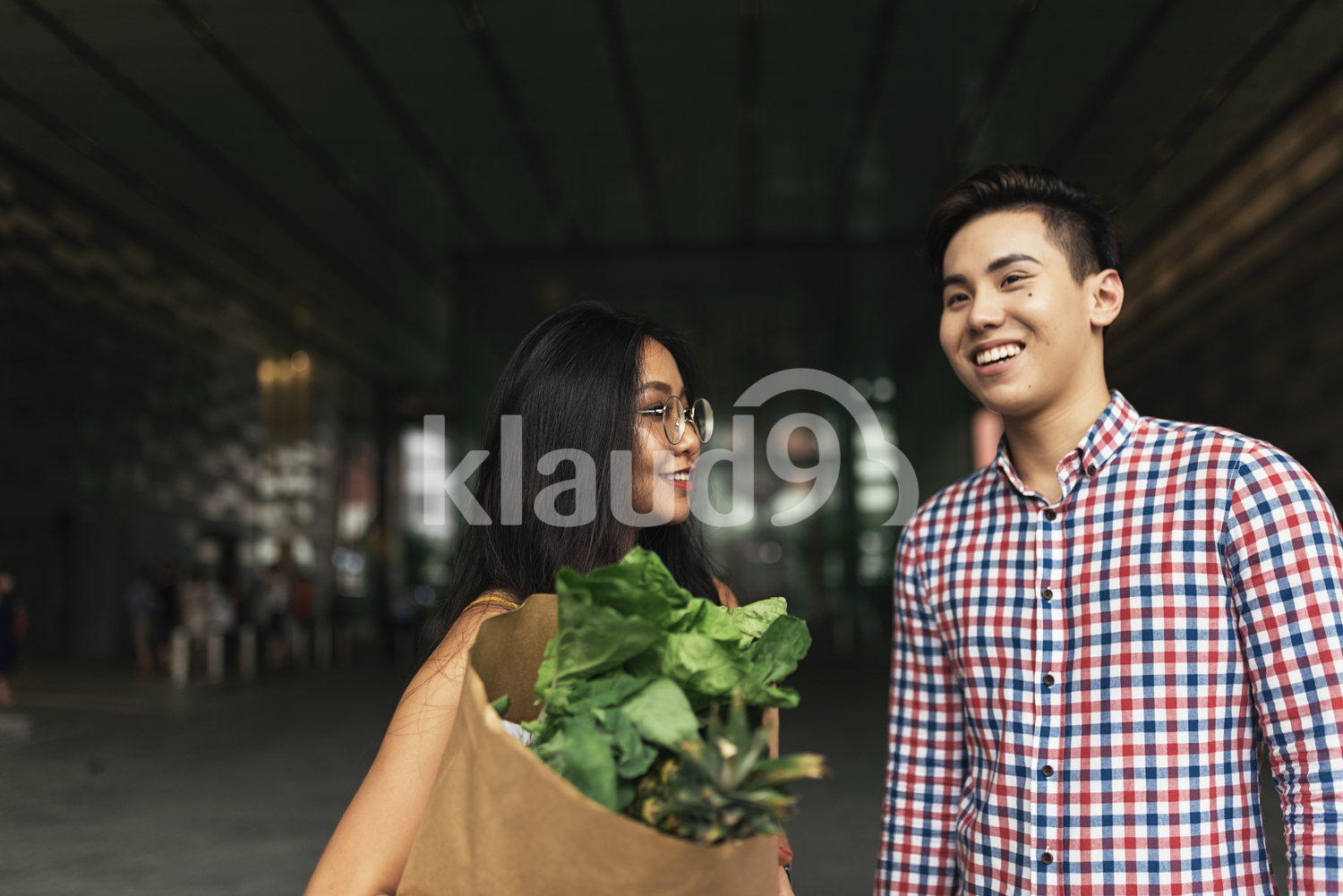 Young Asian couple with grocery bag