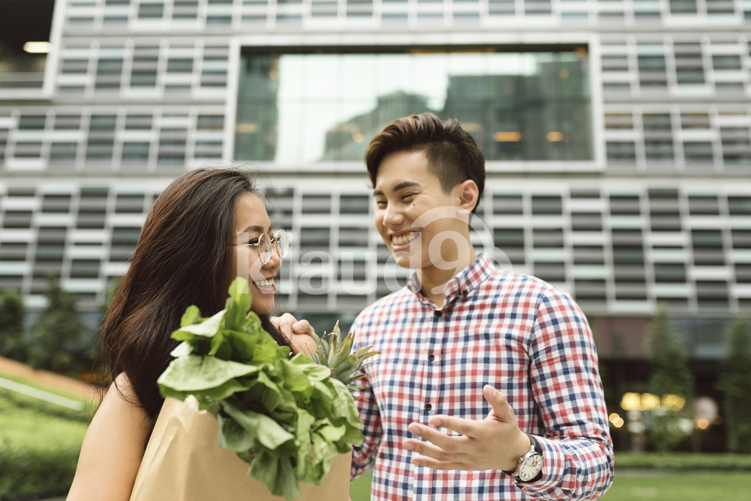 Chinese couple at the city with grocery bag