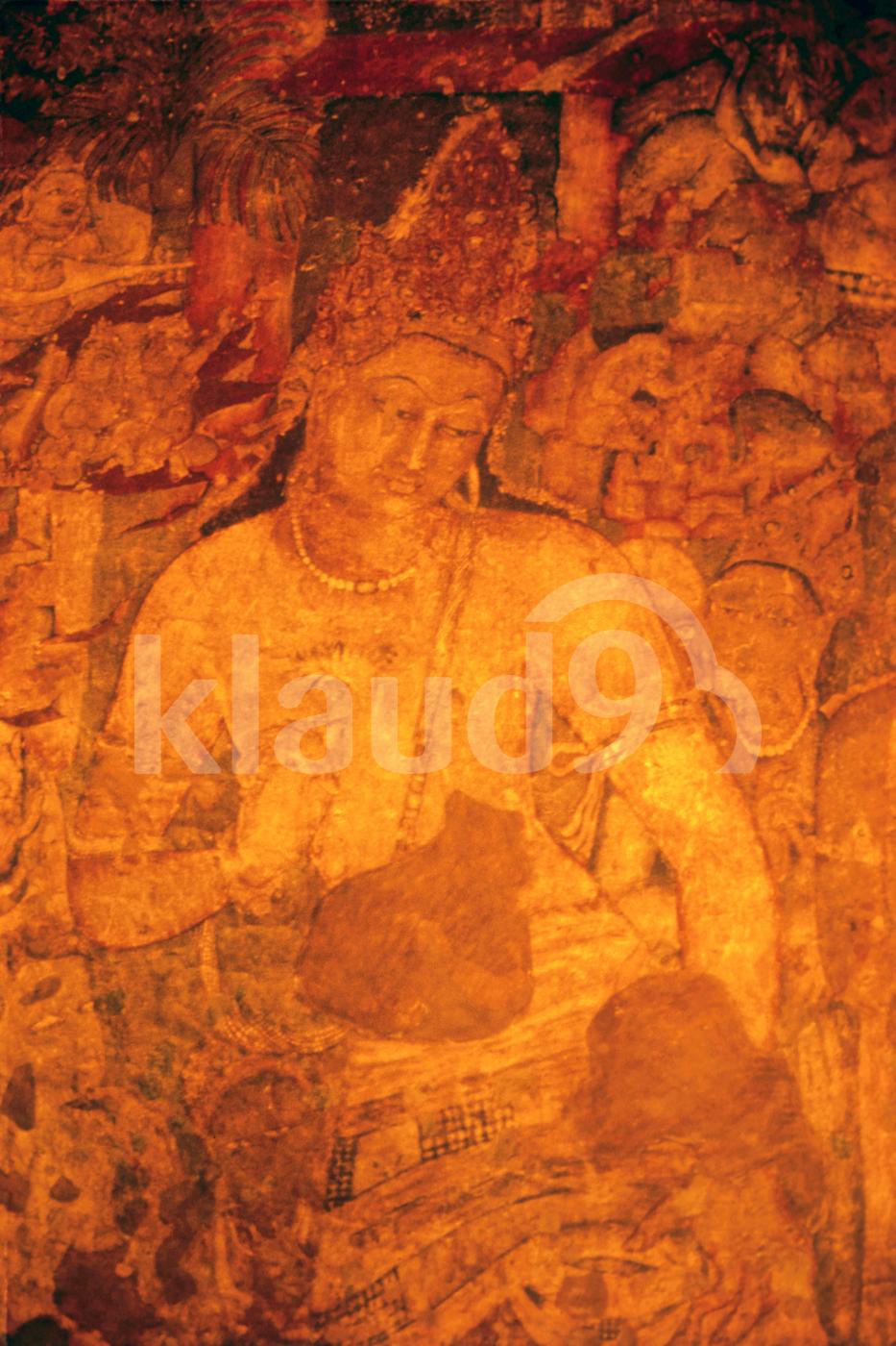 Ajanta Painting in cave, Maharashtra, India,