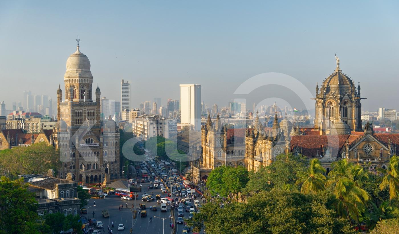 Chhatrapati Shivaji Terminus (CST) Formerly Victoria Terminus And the BMC headquarter  building (Municipal corporation) of Mumbai In Mumbai, India.