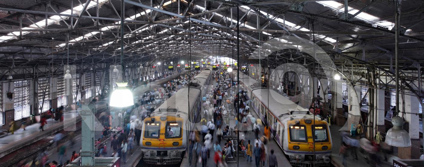 Commuters in Churchgate station Mumbai, India.