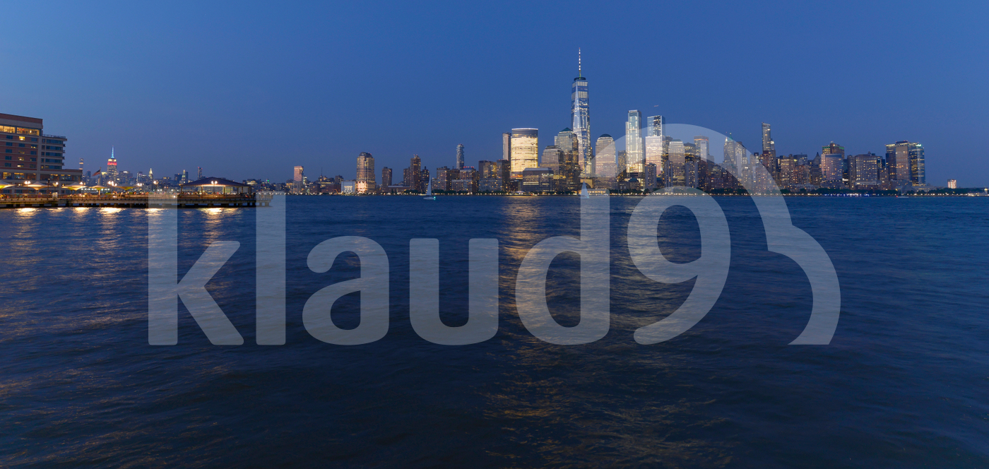 Manhattan skyline in evening New York, USA.