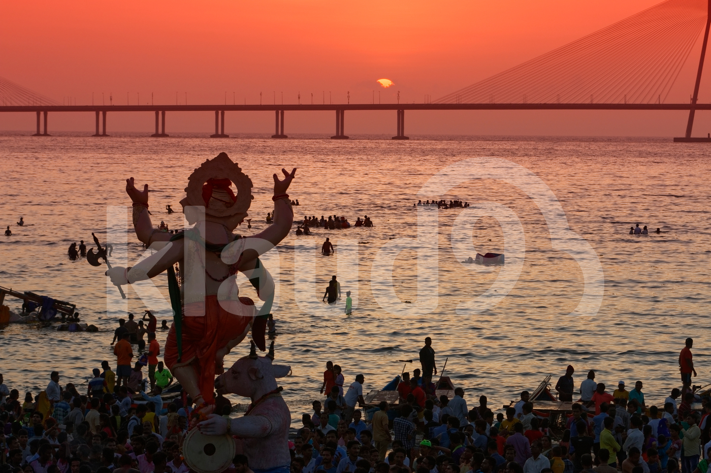 Ganesh Idol immersion in sea, Mumbai, India.