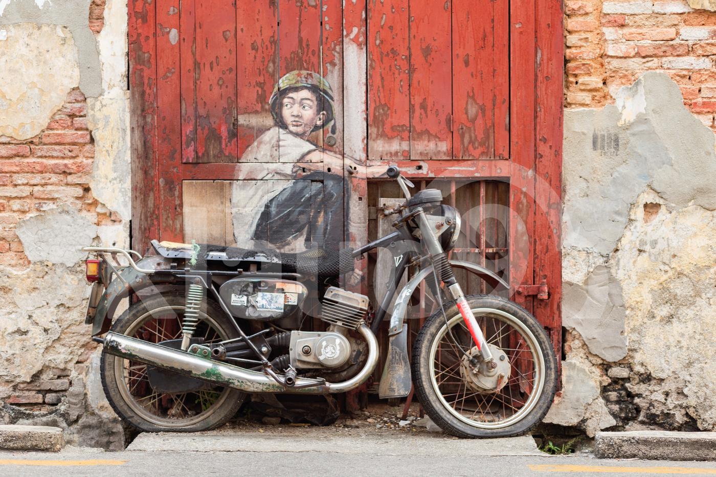 Old motorcycle used in street art