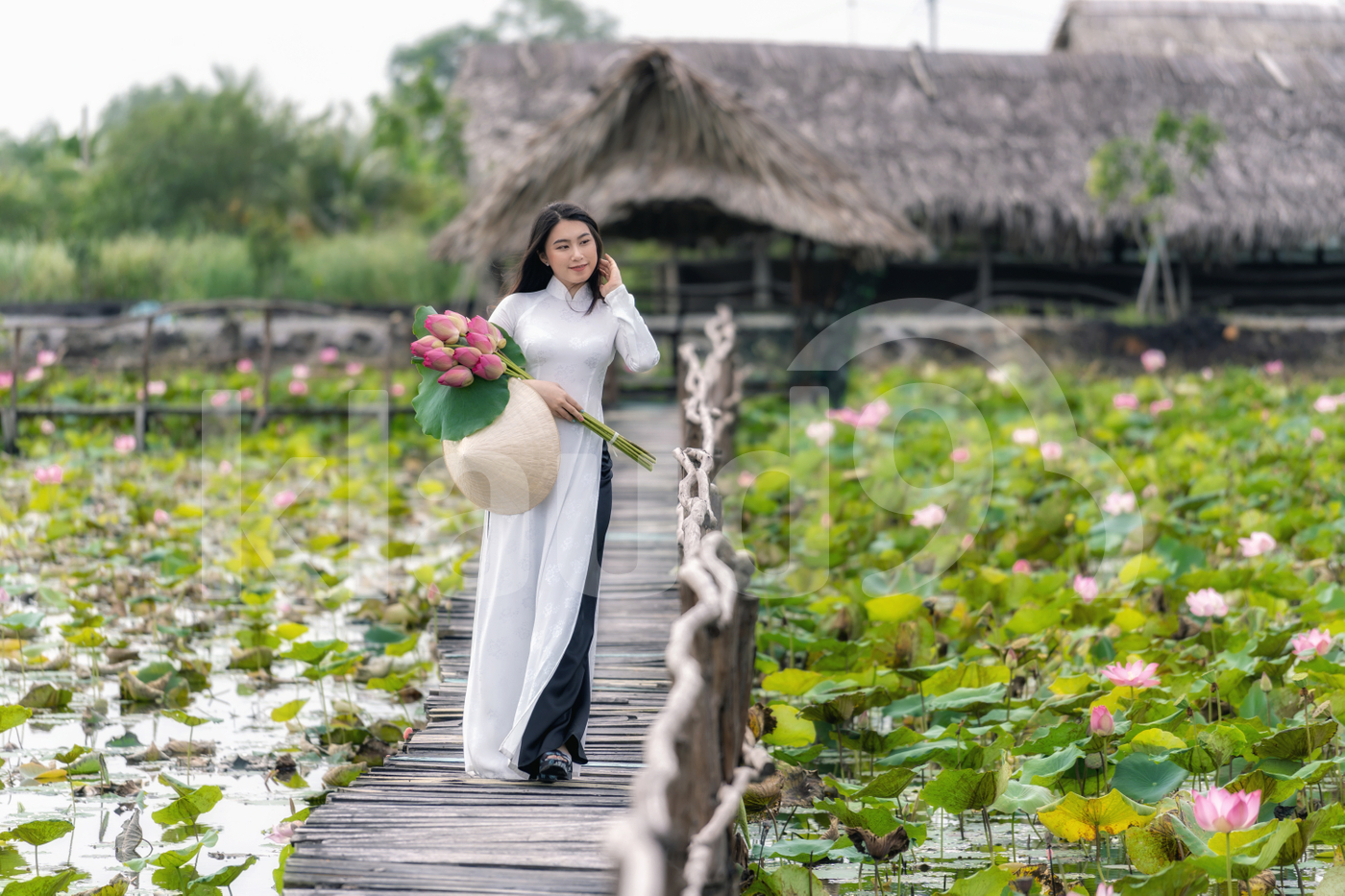Portrait of beautiful Vietnamese woman with traditional Vietnam hat holding the pink lotus walking on the wooden bridge in big lotus lake
