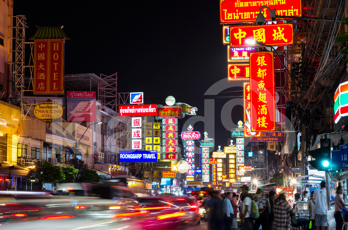 The China Town of thailand on Yaowarat Road at night time