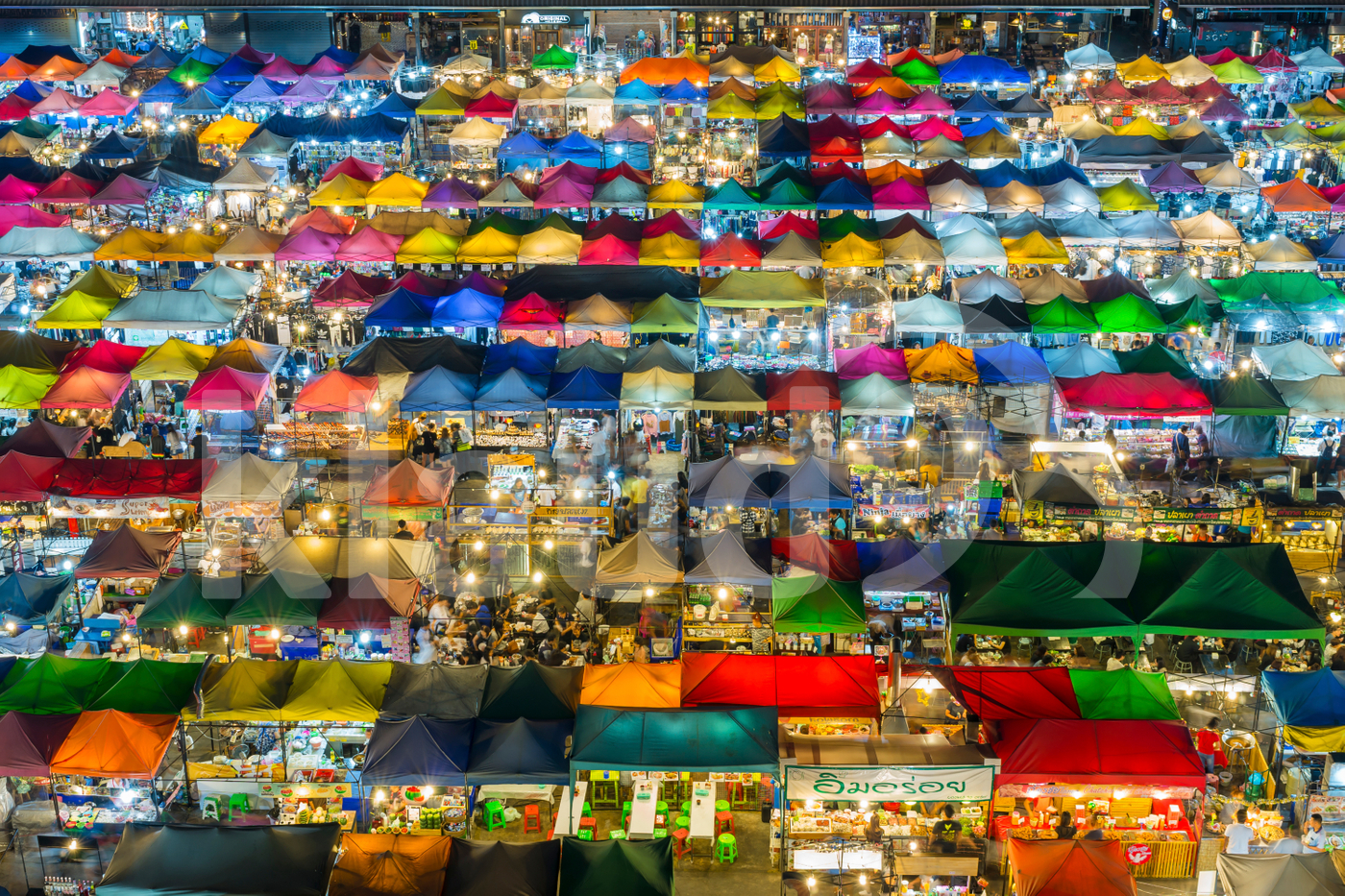 Top view of Night market with many store for service customer in Bangkok, Thailand.