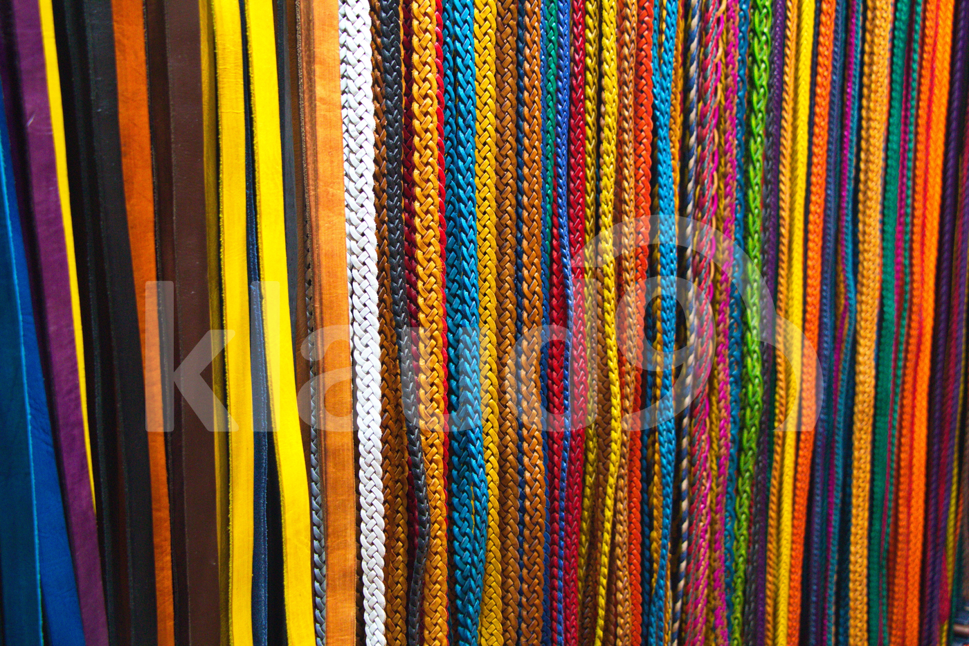 Colored belts in Fes market in Morocco