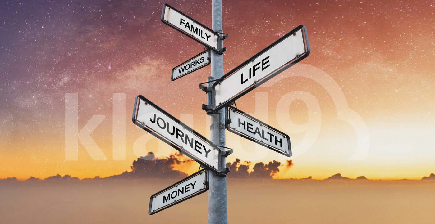 Life balance, Harmony concept. Balanced between work, family, works, money, health, and journey on directional signpost