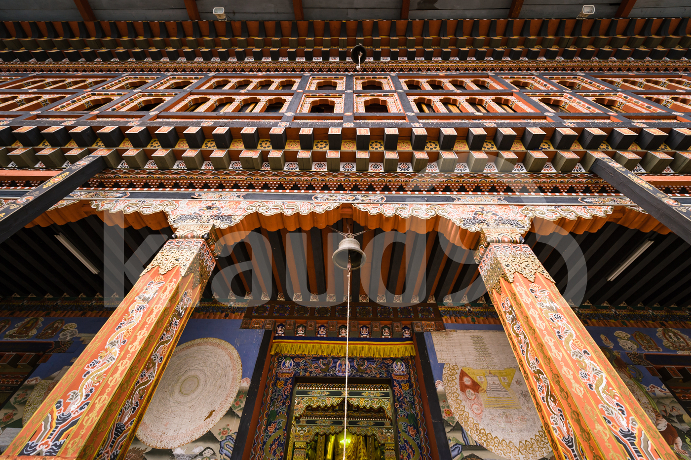 Majestic entrance of main hall at Tashichhoe Dzong