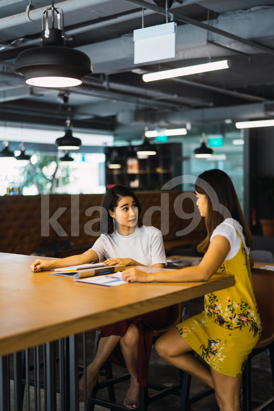 Asian women sitting in the office