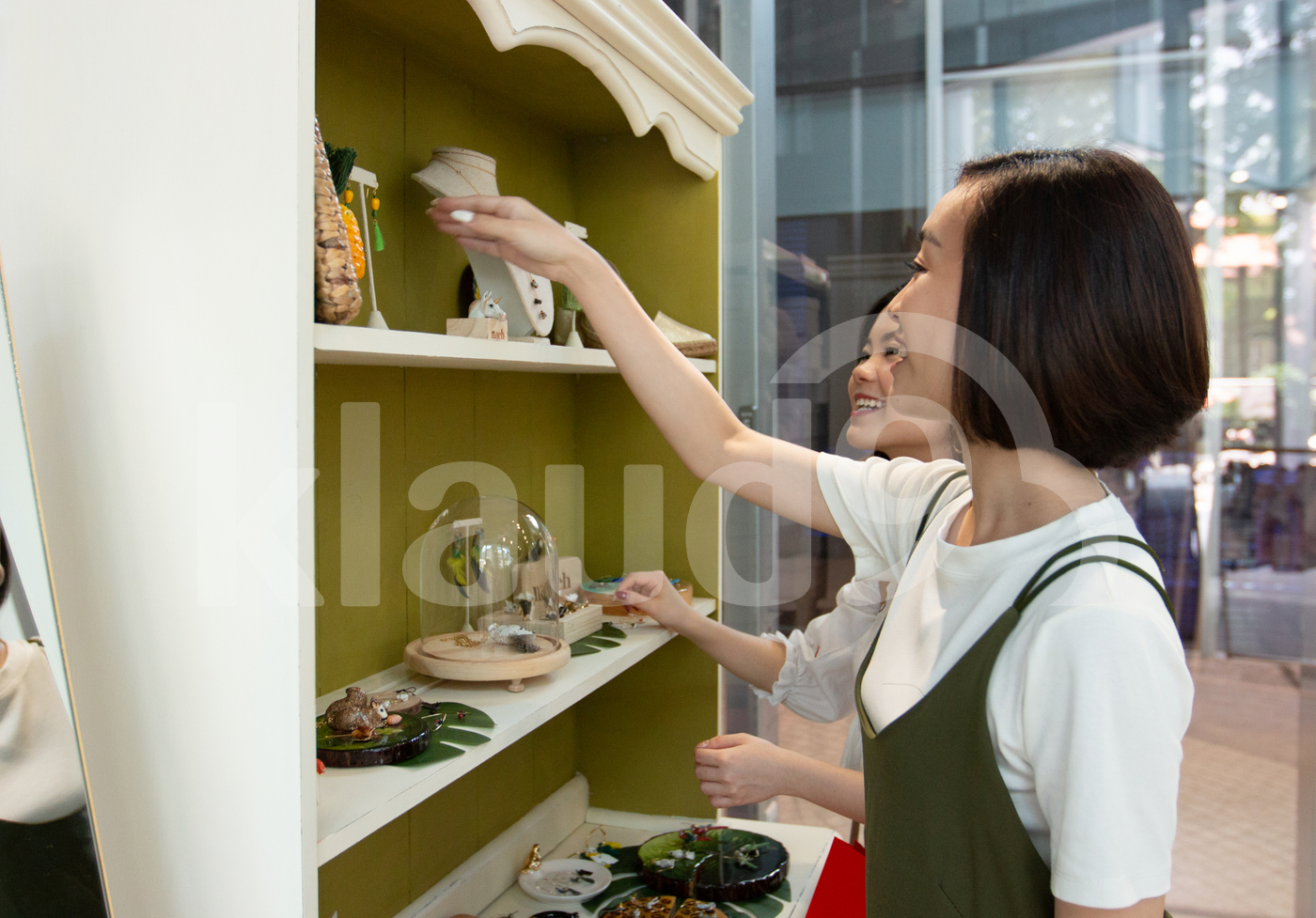 Asian women shopping for accessories